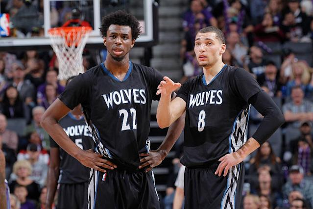 "<a class=""link rapid-noclick-resp"" href=""/nba/players/5292/"" data-ylk=""slk:Andrew Wiggins"">Andrew Wiggins</a>, Zach LaVine and the rest of the <a class=""link rapid-noclick-resp"" href=""/nba/teams/min/"" data-ylk=""slk:Minnesota Timberwolves"">Minnesota Timberwolves</a> have struggled to start the season. (Getty Images)"
