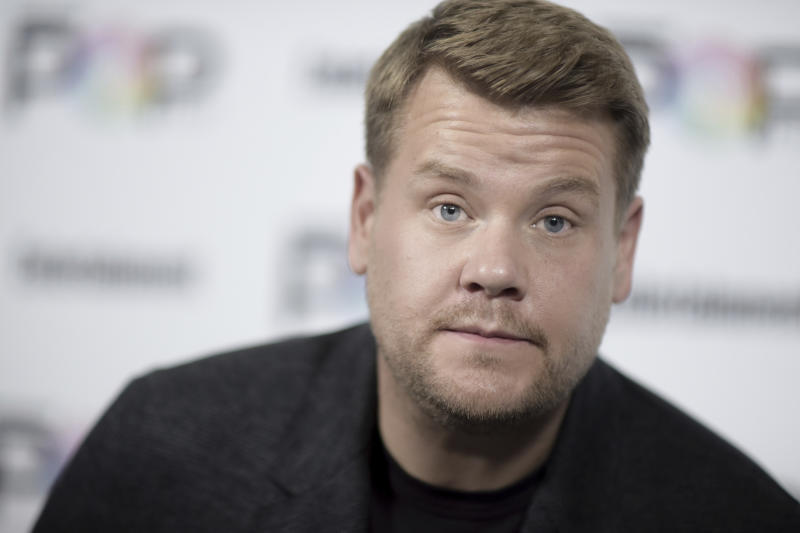"""FILE - In this  Oct. 30, 2016, file photo, James Corden attends the 2016 Entertainment Weekly's Popfest. The British host of CBS' """"Late Late Show"""" said on the Wednesday, March 22, 2017, show that he """"felt a really long, long way from home"""" while watching news reports of the attack in London that left four people dead, including the attacker.  (Photo by Richard Shotwell/Invision/AP, File)"""
