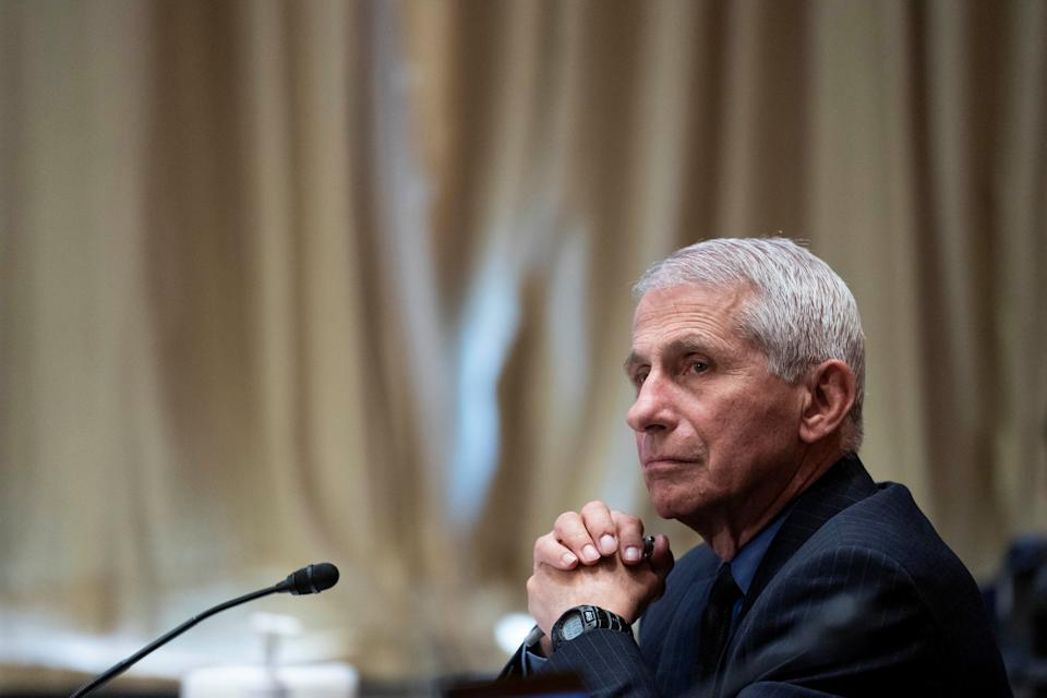 Dr. Anthony Fauci, director of the National Institute of Allergy and Infectious Diseases, listens during a Senate Appropriations Labor, Health and Human Services Subcommittee hearing looking into the budget estimates for National Institute of Health (NIH) and state of medical research on Capitol Hill in Washington, U.S., May 26, 2021. (Sarah Silbiger/Reuters)