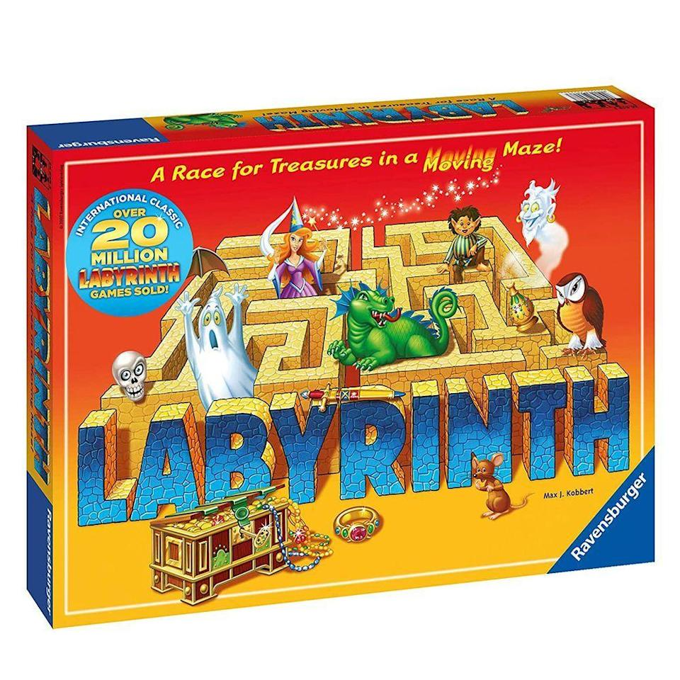 """<p><strong>Ravensburger</strong></p><p>Amazon</p><p><strong>$29.98</strong></p><p><a href=""""https://www.amazon.com/Ravensburger-Labyrinth-Board-Game-Adults/dp/B00000J0JF/ref=sr_1_1?crid=3SA4YILRZTFB4&dchild=1&keywords=labyrinth%2Bboard%2Bgame&qid=1632840115&sprefix=labyrinth%2B%2Caps%2C183&sr=8-1&th=1&tag=syn-yahoo-20&ascsubtag=%5Bartid%7C2089.g.985%5Bsrc%7Cyahoo-us"""" rel=""""nofollow noopener"""" target=""""_blank"""" data-ylk=""""slk:Shop Now"""" class=""""link rapid-noclick-resp"""">Shop Now</a></p><p>True story, playing this game may lead to inexplicable quotations from <em>Lord of the Rings, Labyrinth, </em>and also<em> The Neverending Story. </em></p><p>It might be the pieces and theme, or possibly the quest-style action of the playing, but nevertheless, it happens. </p><p>Labyrinth is a classic board game that's easy to learn to play and absolutely habit-forming. Every kid deserves to learn it, and possibly quote Shrek.</p>"""