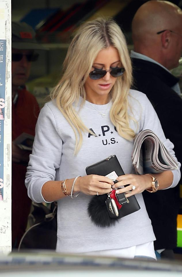 Roxy Jacenko was spotted out and about with her new engagement ring from already-husband Oliver Curtis.