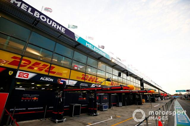 "The Red Bull Racing garage in the pit lane <span class=""copyright"">Andy Hone / Motorsport Images</span>"