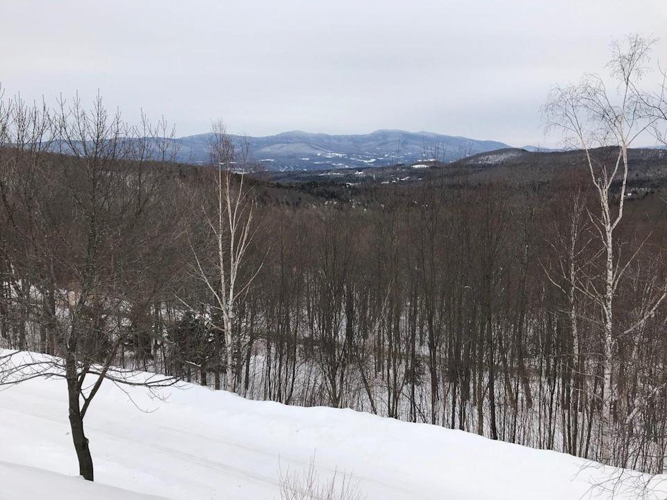 The spectacular view from Mike Krancer's house at the top of Bull Moose Ridge Road in Stowe, Vt., on Feb. 18, 2021.