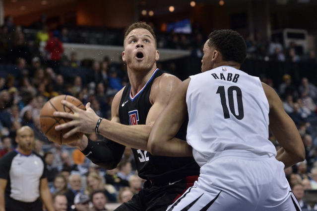 "<a class=""link rapid-noclick-resp"" href=""/nba/players/4561/"" data-ylk=""slk:Blake Griffin"">Blake Griffin</a>, left, averaged 22.6 points in 33 games for the Clippers this season. (AP)"