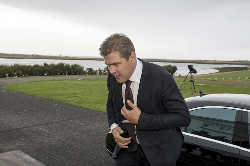 Prime Minister Bjarni Benediktsson arrives at the presidential residence in Bessastadir, Iceland, on Saturday.  (Asgeir Asgeirsson / Reuters)