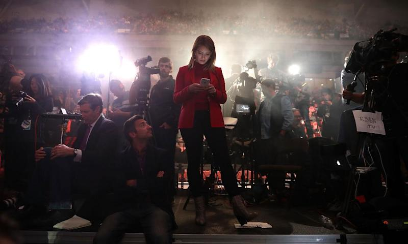 Katy Tur at work during a Trump rally in Manchester, New Hampshire a day before the election.