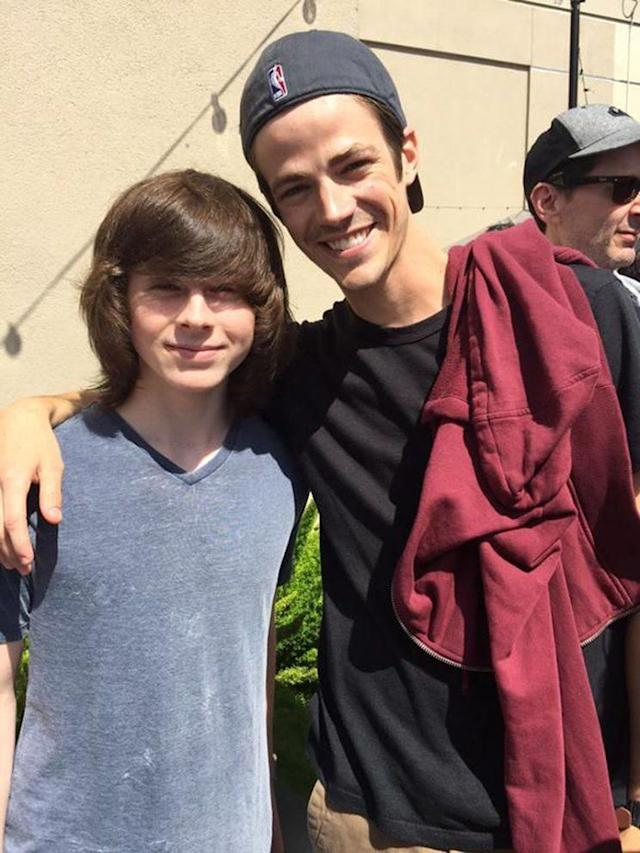 Chandler Riggs and Grant Gustin (Photo: Instagram)