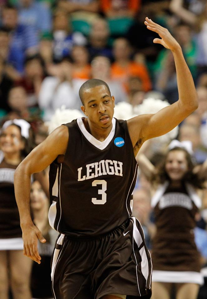 GREENSBORO, NC - MARCH 16:  C.J. McCollum #3 of the Lehigh Mountain Hawks reacts after a made basket in the second half while taking on the Duke Blue Devils during the second round of the 2012 NCAA Men's Basketball Tournament at Greensboro Coliseum on March 16, 2012 in Greensboro, North Carolina.  (Photo by Streeter Lecka/Getty Images)