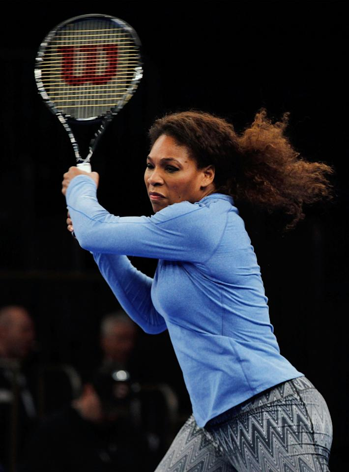 NEW YORK, NY - MARCH 04:  Serena Williams warms-up prior to the BNP Paribas Showdown at Madison Square Garden on March 4, 2013 in New York City.  (Photo by Mike Stobe/Getty Images for StarGames)