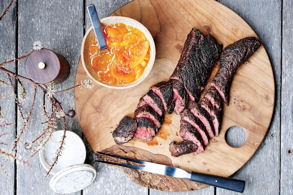 """Sugar in the dry spice mix (the real-deal secret to more flavorful steak) will help these steaks take on color quickly, so keep a close eye on them. <a href=""""https://www.epicurious.com/recipes/food/views/spiced-and-grilled-steaks-with-citrus-chutney?mbid=synd_yahoo_rss"""" rel=""""nofollow noopener"""" target=""""_blank"""" data-ylk=""""slk:See recipe."""" class=""""link rapid-noclick-resp"""">See recipe.</a>"""