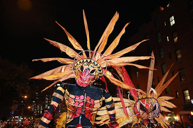 <p>Brazilian-style headdresses are on parade at the 44th annual Village Halloween Parade in New York City on Oct. 31, 2017. (Photo: Gordon Donovan/Yahoo News) </p>