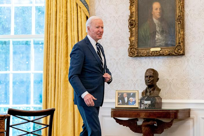 President Joe Biden leaves after signing the American Rescue Plan, a coronavirus relief package, in the Oval Office of the White House, Thursday, March 11, 2021, in Washington.
