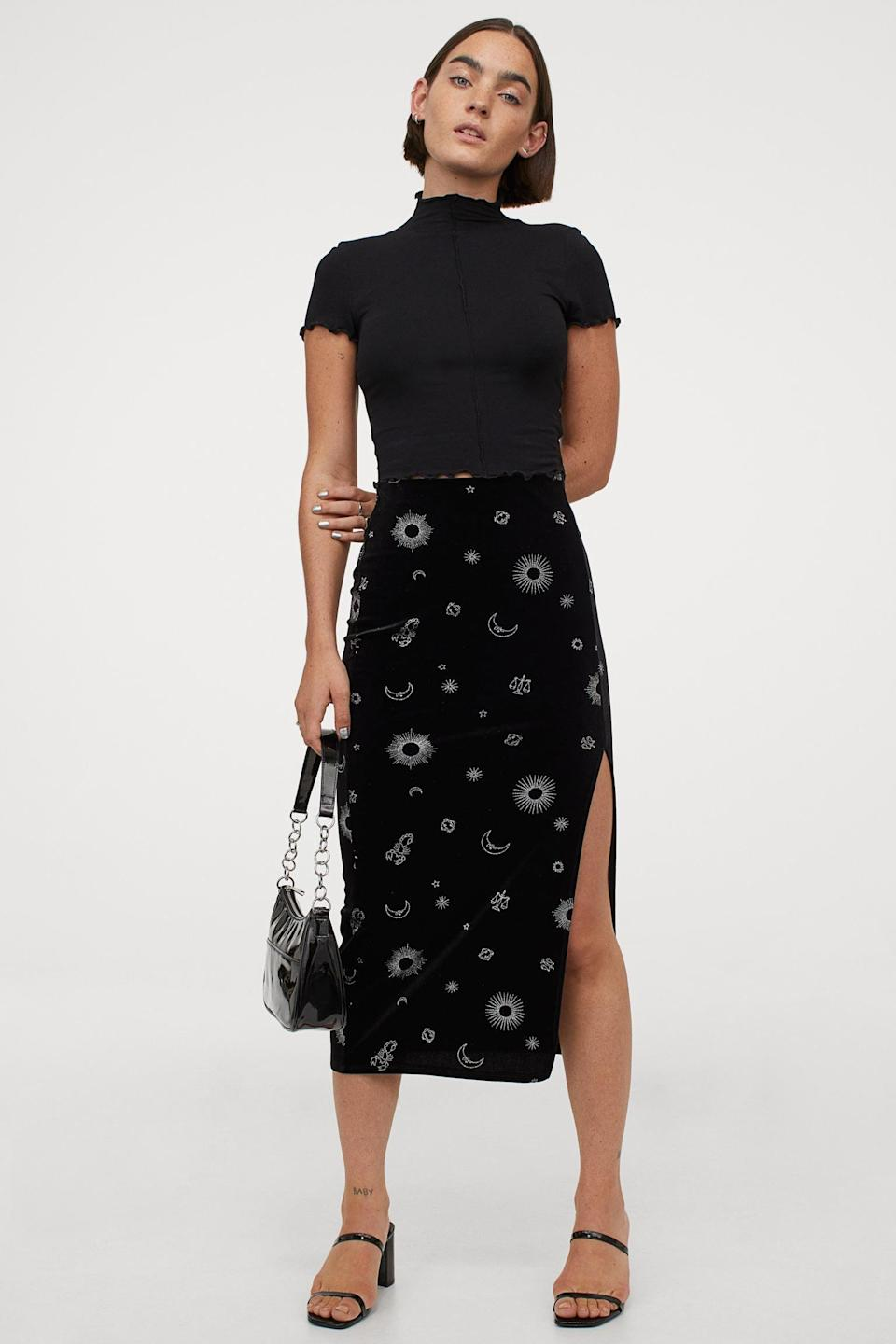 <p>If you're into zodiac signs, you might love this super feminine <span>Slit-front Velour Skirt</span> ($25).</p>