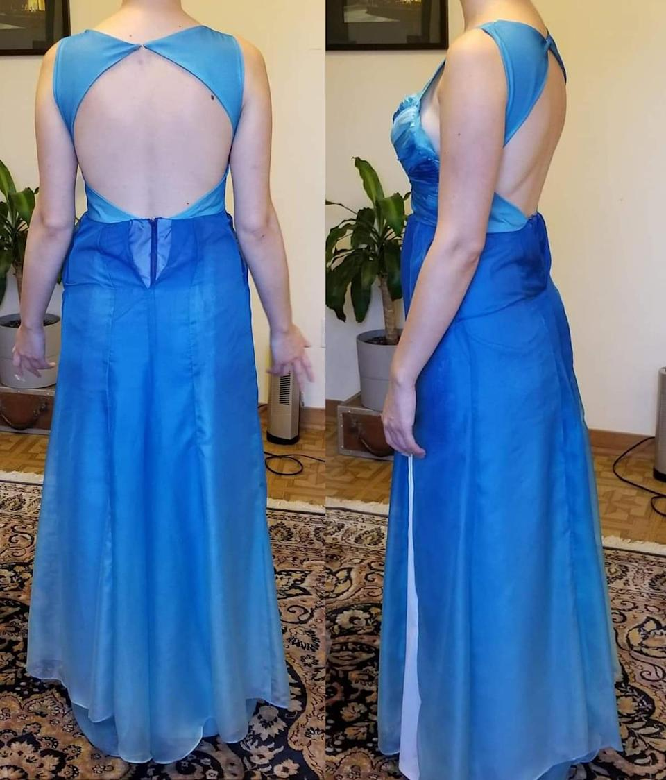 Photos of a woman wearing an ill-fitting blue gown