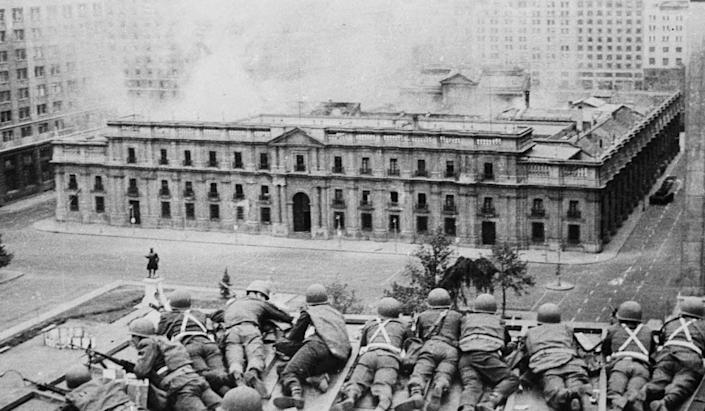"""<span class=""""caption"""">The U.S. supported Gen. Augusto Pinochet's 1973 military coup in Chile, which overthrew Socialist President Salvador Allende and ushered in a murderous regime.</span> <span class=""""attribution""""><a class=""""link rapid-noclick-resp"""" href=""""http://www.apimages.com/metadata/Index/Chile-Coup-Anniversary/1ffc40b46e52475eae3debfa3defb895/26/0"""" rel=""""nofollow noopener"""" target=""""_blank"""" data-ylk=""""slk:AP Photo/Enrique Aracena, File)"""">AP Photo/Enrique Aracena, File)</a></span>"""