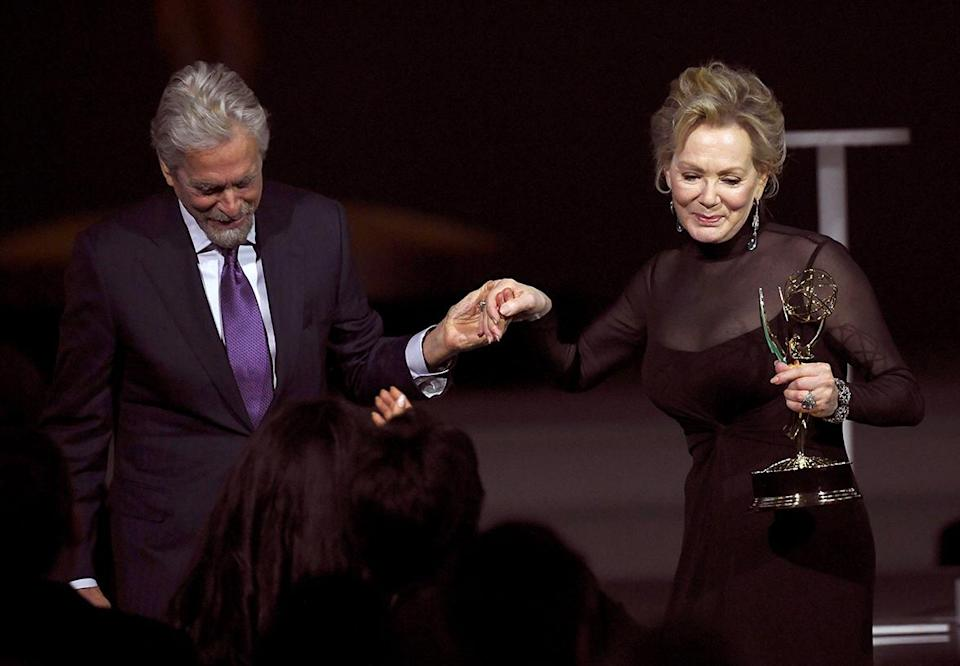 <p>Jean Smart accepted Michael Douglas' well-wishes following her outstanding lead actress in a comedy series win for <em>Hacks.</em></p>