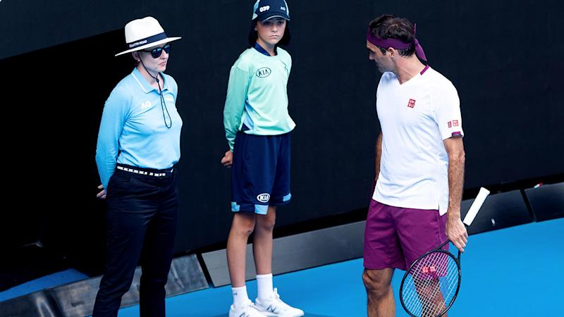 Roger Federer, pictured here having words with the line judge at the Australian Open.