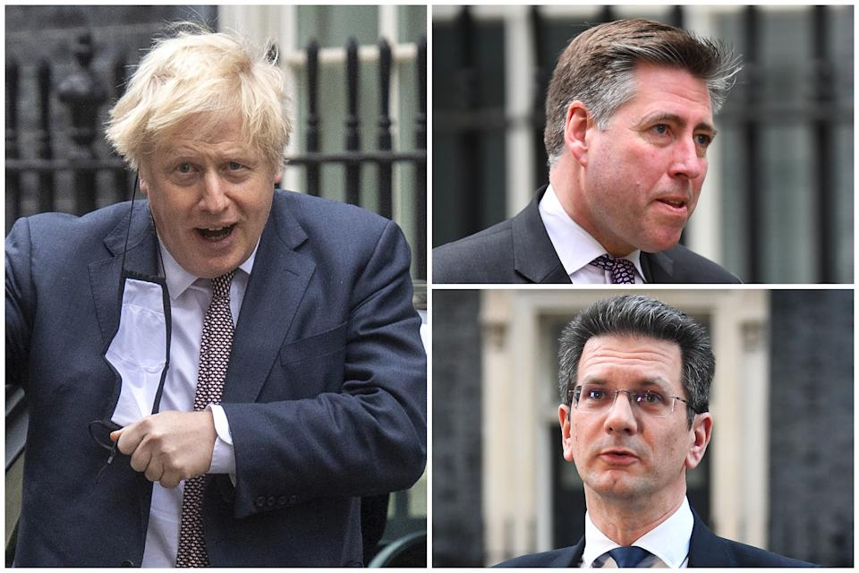 Boris Johnson is facing a backlash from senior Tory backbenchers Sir Graham Brady (top right) and Steve Baker (bottom left). Pictures: Getty Images/PA