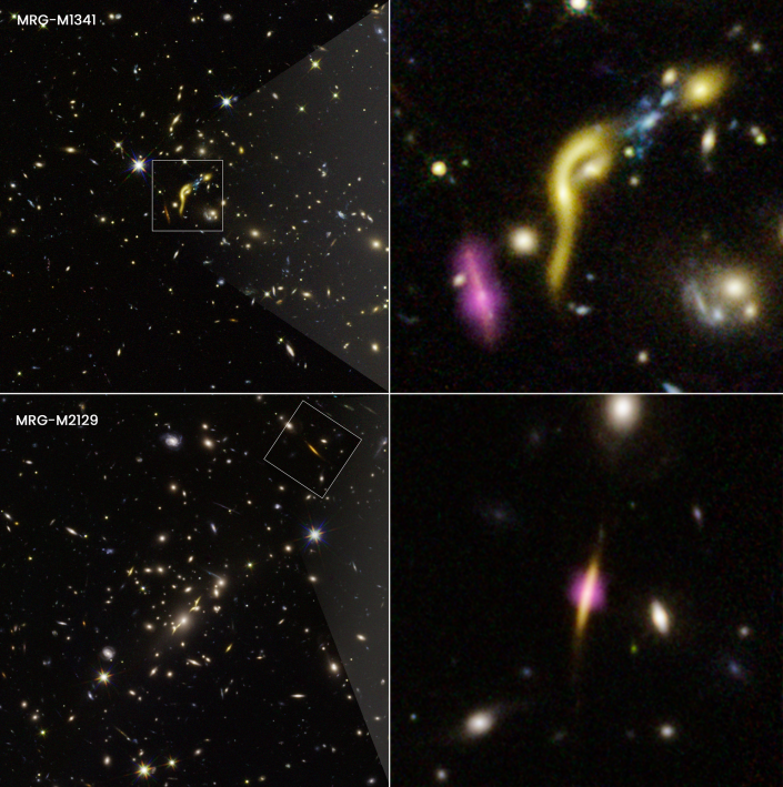 These images are composites from NASA's Hubble Space Telescope and the Atacama Large Millimeter/submillimeter Array (ALMA). Annotated image on the left, unannotated image on the right. / Credit: Credits: Image Processing: Joseph DePasquale (STScI)