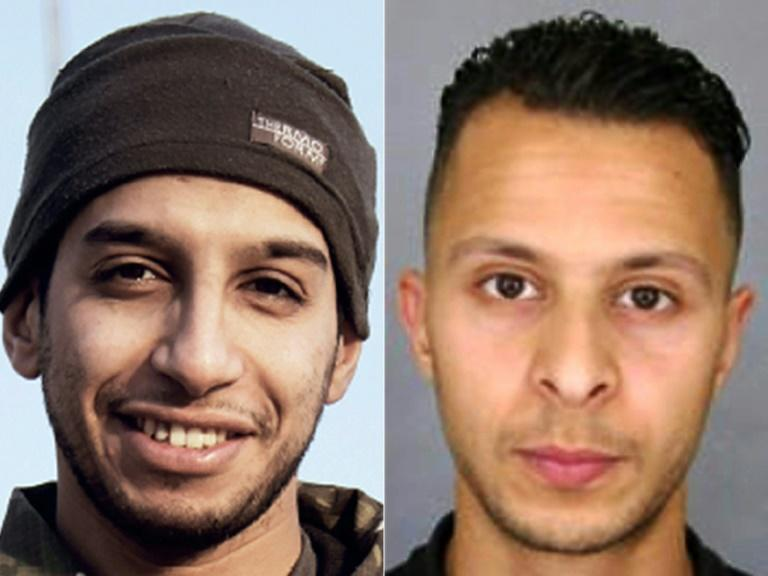 Left, a picture from the Islamic State online magazine Dabiq purportedly showing Abdelhamid Abaaoud, presumed Paris attacks mastermind killed in a shootout days later and, right, a French police picture of jailed Paris attacks suspect Salah Abdeslam