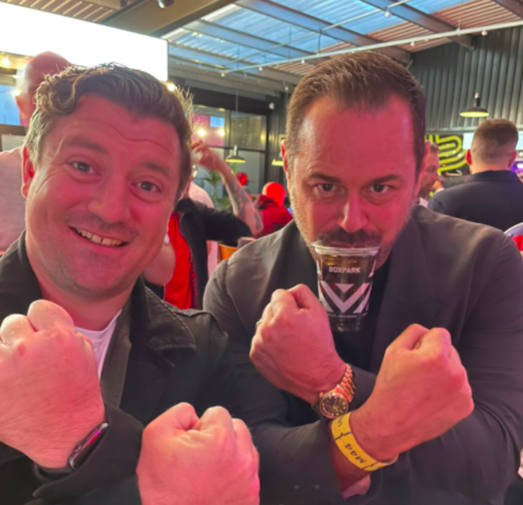 Actor Danny Dyer (right) partied as England secured victory against German at Wembley Stadium. (Twitter)