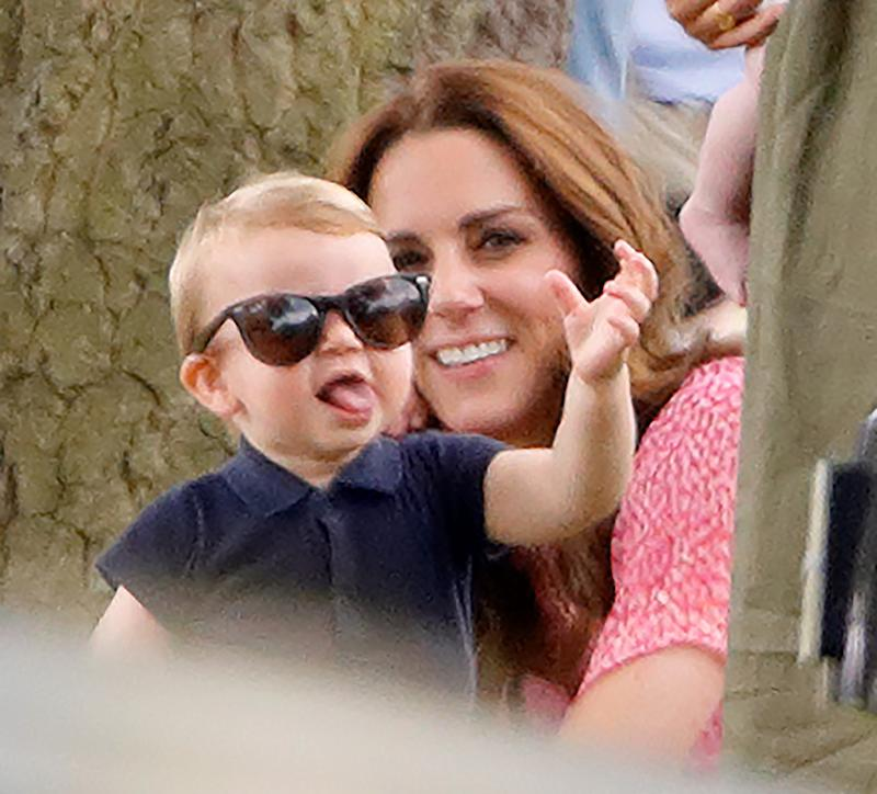 WOKINGHAM, UNITED KINGDOM - JULY 10: (EMBARGOED FOR PUBLICATION IN UK NEWSPAPERS UNTIL 24 HOURS AFTER CREATE DATE AND TIME) Prince Louis of Cambridge and Catherine, Duchess of Cambridge attend the King Power Royal Charity Polo Match, in which Prince William, Duke of Cambridge and Prince Harry, Duke of Sussex were competing for the Khun Vichai Srivaddhanaprabha Memorial Polo Trophy at Billingbear Polo Club on July 10, 2019 in Wokingham, England. (Photo by Max Mumby/Indigo/Getty Images)