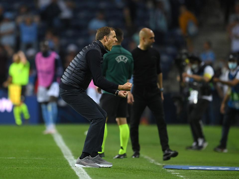 Thomas Tuchel reacts after victory in the Champions League final (Getty)