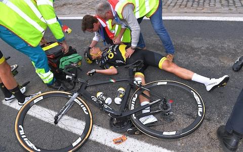 <span>Niki&nbsp;Terpstra crashed heavily</span> <span>Credit: GETTY IMAGES </span>