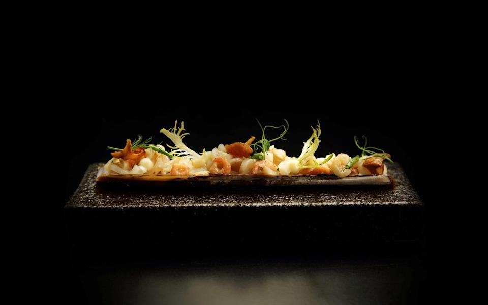 Razor clam with almond and celeriac at The Raby Hunt