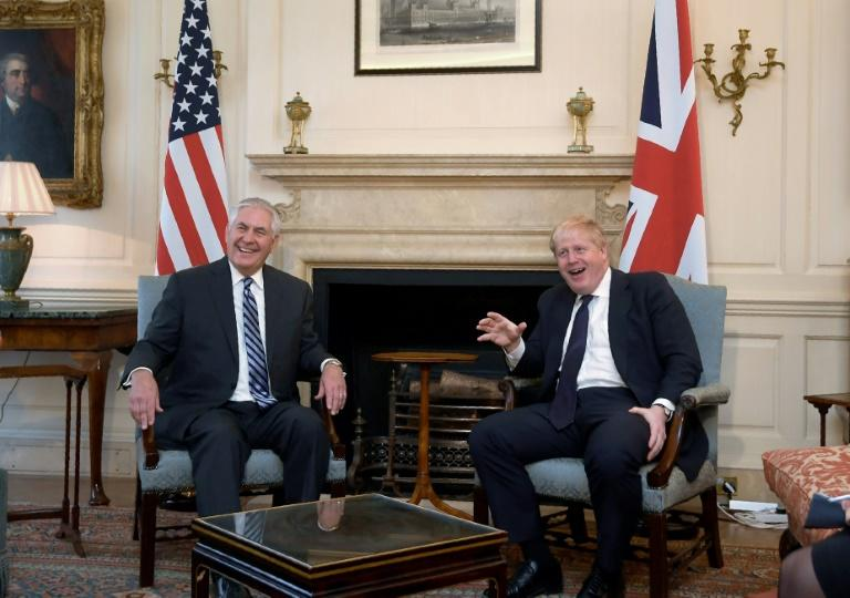 US Secretary of State Rex Tillerson (L) meets with Britain's Foreign Secretary Boris Johnson in Downing Street