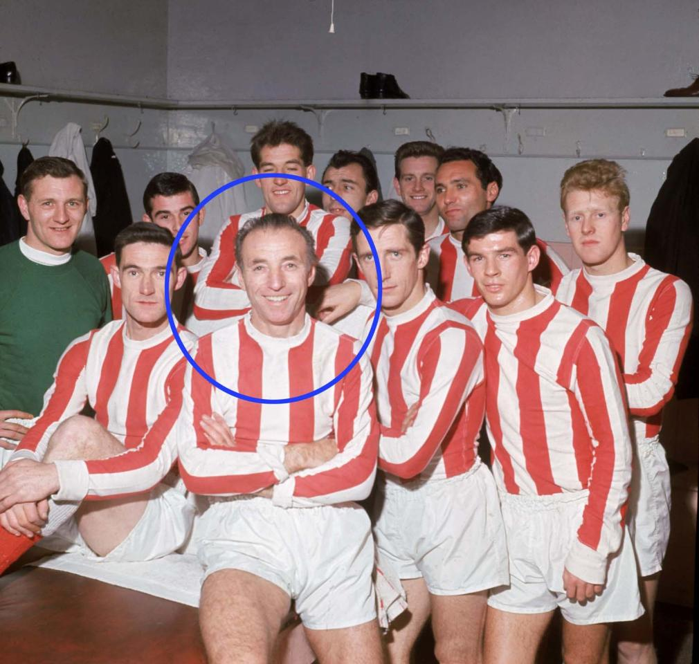 1 Feb 1965:  Stanley Matthews with his Stoke City team mates on his 50th birthday. \ Mandatory Credit:  Don Morley/Allsport