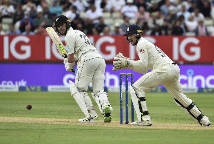 New Zealand's Will Young, left, bats during the second day of the second cricket test match between England and New Zealand at Edgbaston in Birmingham, England, Friday, June 11, 2021. (AP Photo/Rui Vieira)