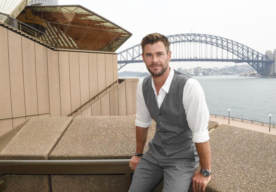 Actor Chris Hemsworth at the Sydney Opera House for the launch of the latest Tourism Australia campaign on October 30, 2019 in Sydney, Australia.