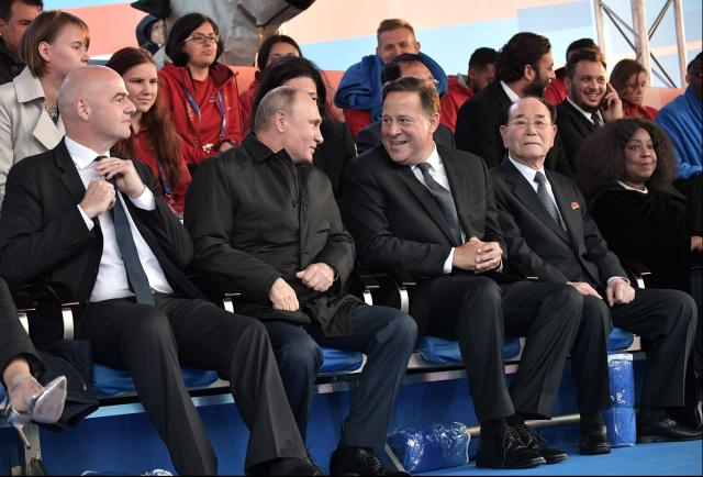 From left: FIFA President Gianni Infantino Russian President Vladimir Putin, Panama's President Juan Carlos Varela, Kim Yong Nam, president of the Presidium of the Supreme People's Assembly of the Democratic People's Republic of Korea, and FIFA Secretary General Fatma Samba Diouf Samoura of Senegal attend a gala concert of world-famous classical music artists on Red Square in Moscow, Russia, Wednesday, June 13, 2018. Russia will host its first World Cup from June 14 to July 15. (Alexei Nikolsky, Sputnik, Kremlin Pool Photo via AP)
