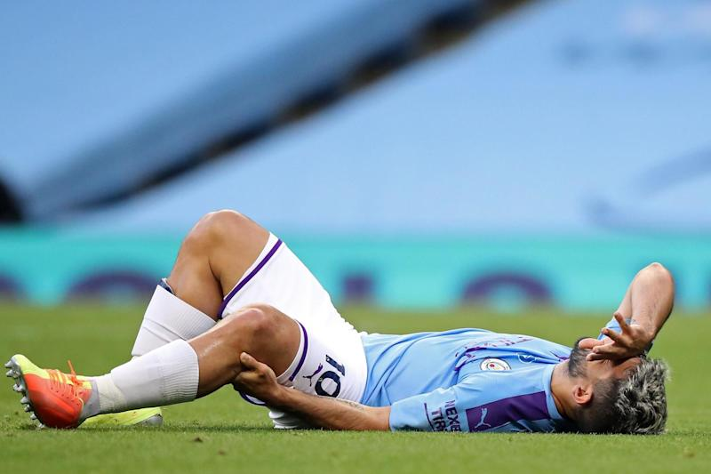 Sidelined: Aguero suffered the injury against Burnley Photo: POOL/AFP via Getty Images)