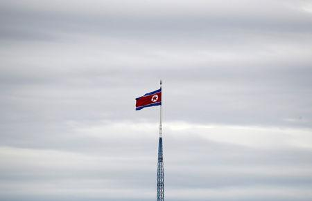 FILE PHOTO: A North Korean flag flutters on top of a 160-metre tower in North Korea's propaganda village of Gijungdong, in this picture taken from the Tae Sung freedom village near the Military Demarcation Line (MDL), in Paju