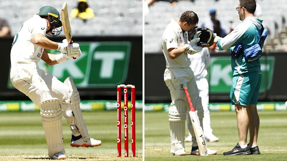 Marnus Labuschagne was hit heavily on the helmet by a Mohammed Siraj bouncer, but was able to carry on after the knock. Pictures: Getty Images
