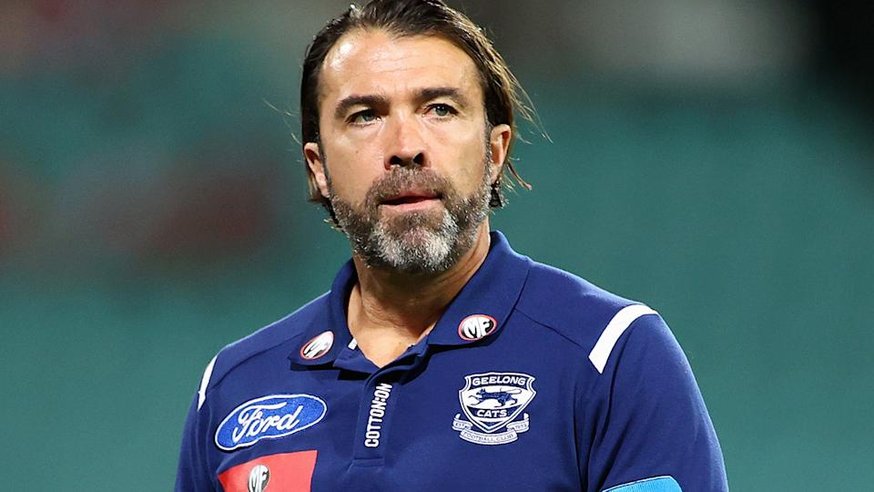 Geelong coach Chris Scott was unimpressed after umpires missed a crucial whistle that could have given the Cats a chance to beat Sydney on Saturday. (Photo by Cameron Spencer/Getty Images)