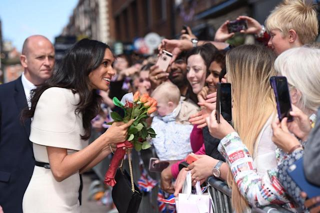 Meghan Markle greeting fans at a recent event. (Photo: Getty Images)