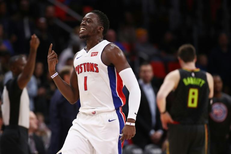 Reggie Jackson of the Detroit Pistons reacts reacts to a call late in their game against the Atlanta Hawks, at Little Caesars Arena in Detroit, Michigan, on November 10, 2017