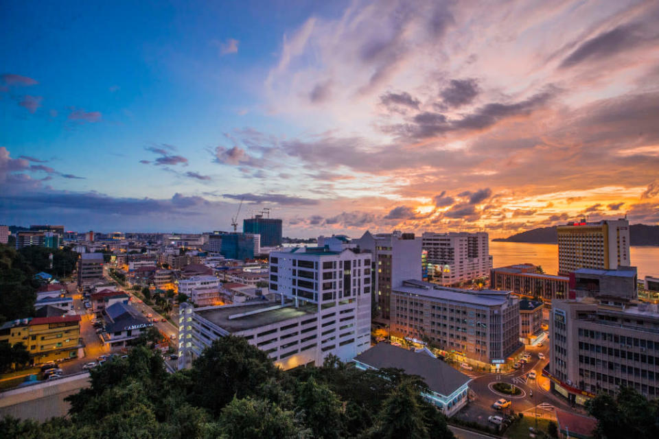 Commercial buildings stand in the central business district of Kota Kinabalu, Sabah September 23, 2020. — Picture by Firdaus Latif