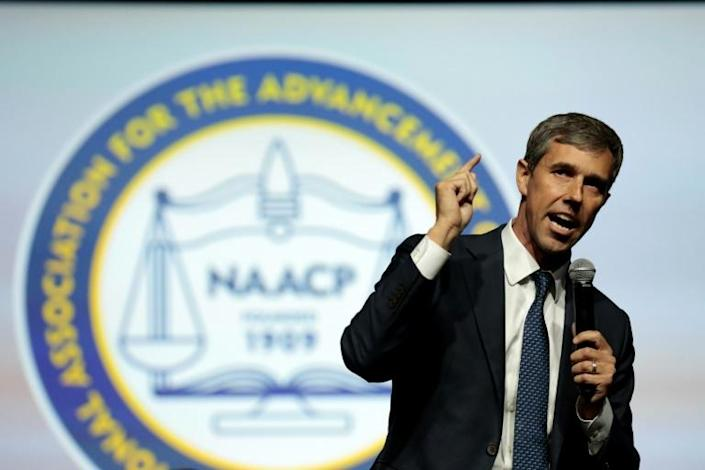 """Democratic presidential hopeful Beto O'Rourke (pictured July 24, 2019) accused the president of """"encouraging greater racism"""" (AFP Photo/JEFF KOWALSKY)"""
