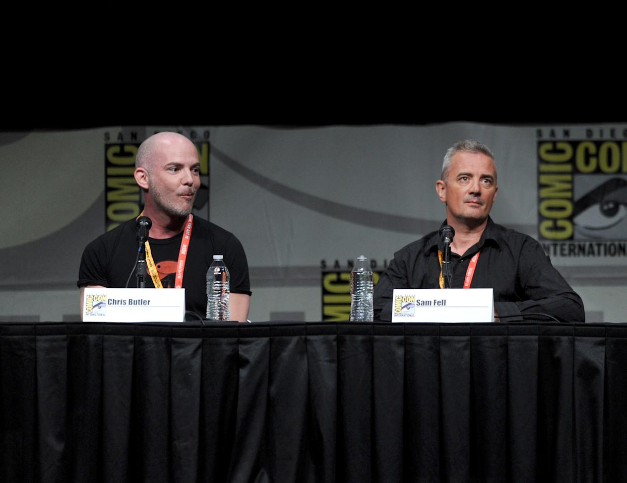 "SAN DIEGO, CA - JULY 13:  (L-R) Co-directors Chris Butler and Sam Fell speak at the ""Paranorman: Behind The Scenes"" panel during Comic-Con International 2012 at San Diego Convention Center on July 13, 2012 in San Diego, California.  (Photo by Kevin Winter/Getty Images)"