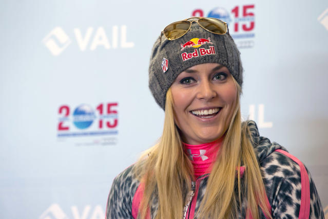 Lindsey Vonn speaks at a news conference regarding her future at the Sochi Olympics, the World Cup season and 2015 World Championships at Gold Peak, Vail, Colo., on Friday, Nov. 8, 2013. (AP Photo/Nathan Bilow)