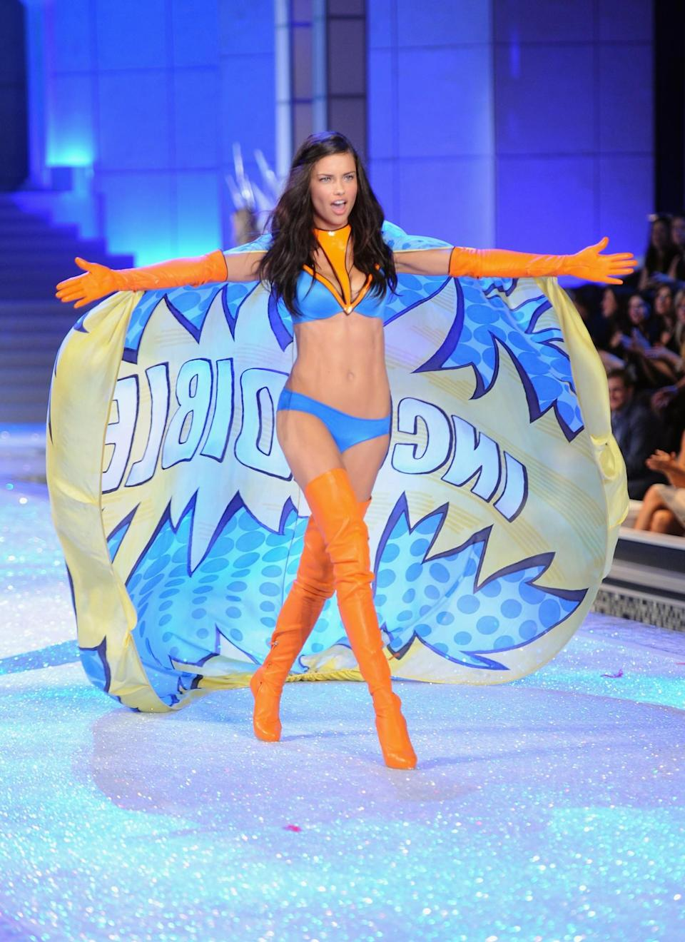 <p>Adriana Lima hit headlines for looking incredible in this cartoon inspired outfit. [Photo: Getty] </p>