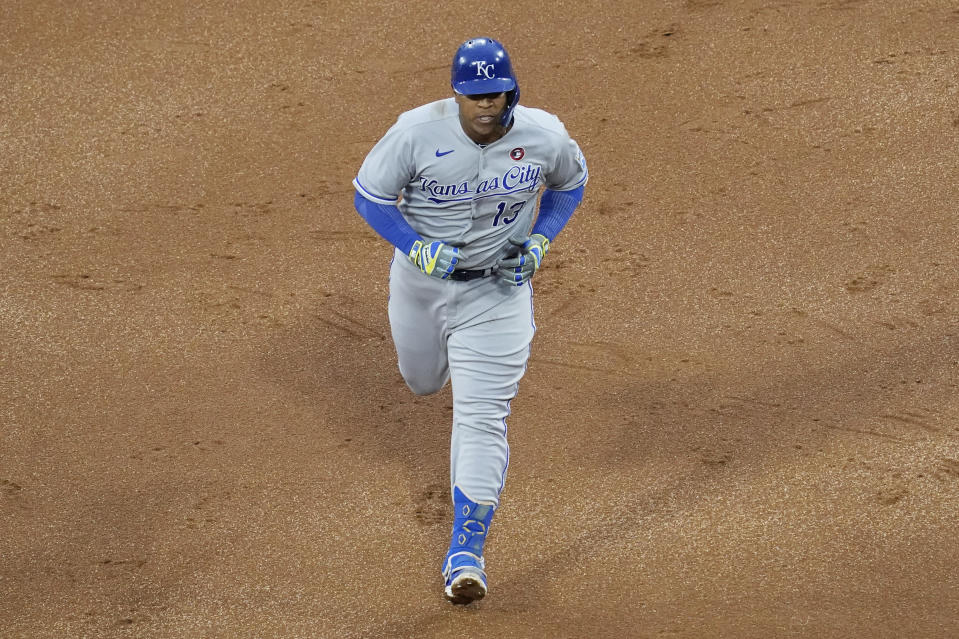 Kansas City Royals' Salvador Perez rounds the bases after hitting three-run home run during the third inning of a baseball game against the Chicago White Sox in Chicago, Saturday, May 15, 2021. (AP Photo/Nam Y. Huh)