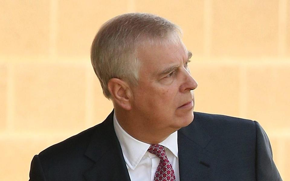 PERTH, AUSTRALIA - OCTOBER 02: Prince Andrew looks on after being greeted by Professor Romy Lawson, Provost of Murdoch University on arrival at Murdoch University on October 02, 2019 in Perth, Australia. The Duke of York is on a working visit to Perth hosting events as part of Pitch@Palace Australia 3.0, aimed to encourage and support entrepreneurship in Australia, and provide international support and development opportunities for early-stage businesses.  - Paul Kane/Getty Images