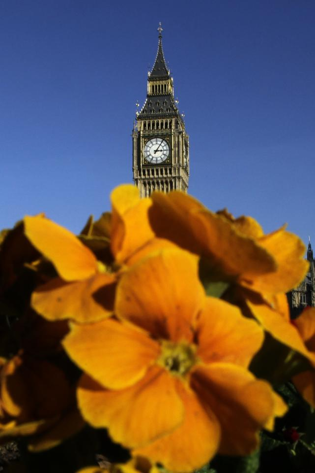 Big Ben is seen on an unseasonably warm winter's day in London. Temperatures reached 19C in Coleshill, Birmingham.
