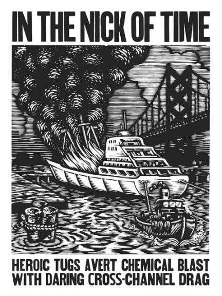 A woodcut depiction of the heroic tugboat crew that dragged a burning vessel away from port to prevent the whole area from incineration in 1961.