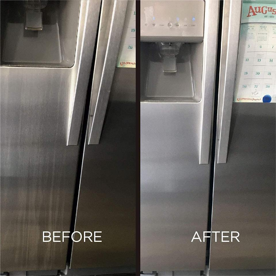 """Complete with wipes and a spray, this kit will help banish fingerprints from your fridge, stove, dishwasher and microwave and leave 'em looking like the day you had them installed.<br /><br /><strong>Promising review:</strong> """"These arelife-changing. I had used window cleaner on my oven and dishwasher and was still getting streaks. I ordered these, and I can't see any streaks!! It's very worth the money!"""" —<a href=""""https://www.amazon.com/dp/B07JBNJ5JJ?tag=huffpost-bfsyndication-20&ascsubtag=5890048%2C20%2C36%2Cd%2C0%2C0%2C0%2C962%3A1%3B901%3A2%3B900%3A2%3B974%3A3%3B975%3A2%3B982%3A2%2C16496879%2C0"""" target=""""_blank"""" rel=""""noopener noreferrer"""">Laura</a><br /><br /><strong>Get it from Amazon for<a href=""""https://www.amazon.com/dp/B07JBNJ5JJ?tag=huffpost-bfsyndication-20&ascsubtag=5890048%2C20%2C36%2Cd%2C0%2C0%2C0%2C962%3A1%3B901%3A2%3B900%3A2%3B974%3A3%3B975%3A2%3B982%3A2%2C16496879%2C0"""" target=""""_blank"""" rel=""""noopener noreferrer"""">$16.94</a>.</strong>"""